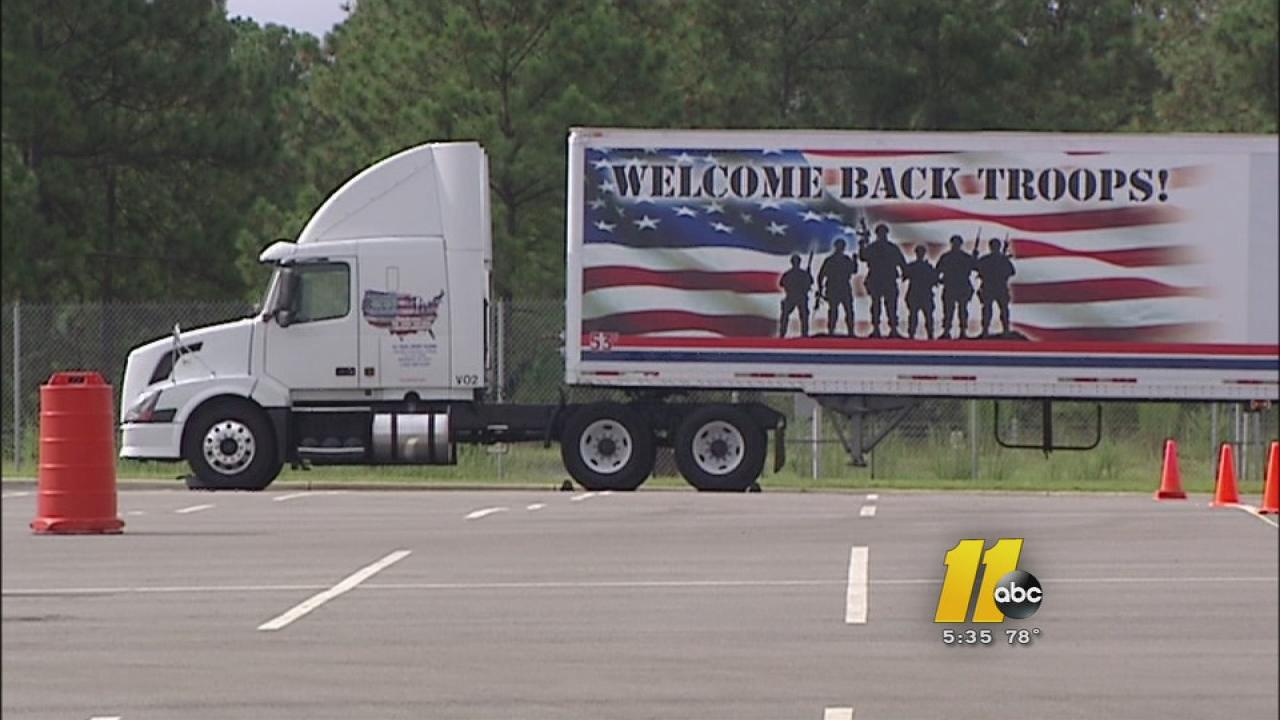 Truckers hold soldiers at Fort Bragg learn skills.