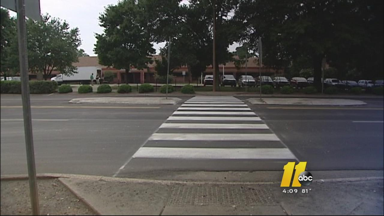 The crosswalk in front of Cary High School where a bicyclist was hit.