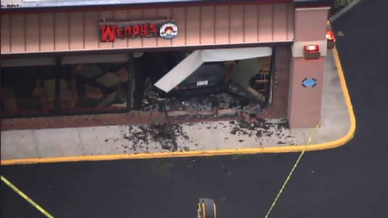 A minivan crashed into a Wendys in the 3800 block of New Bern Avenue.