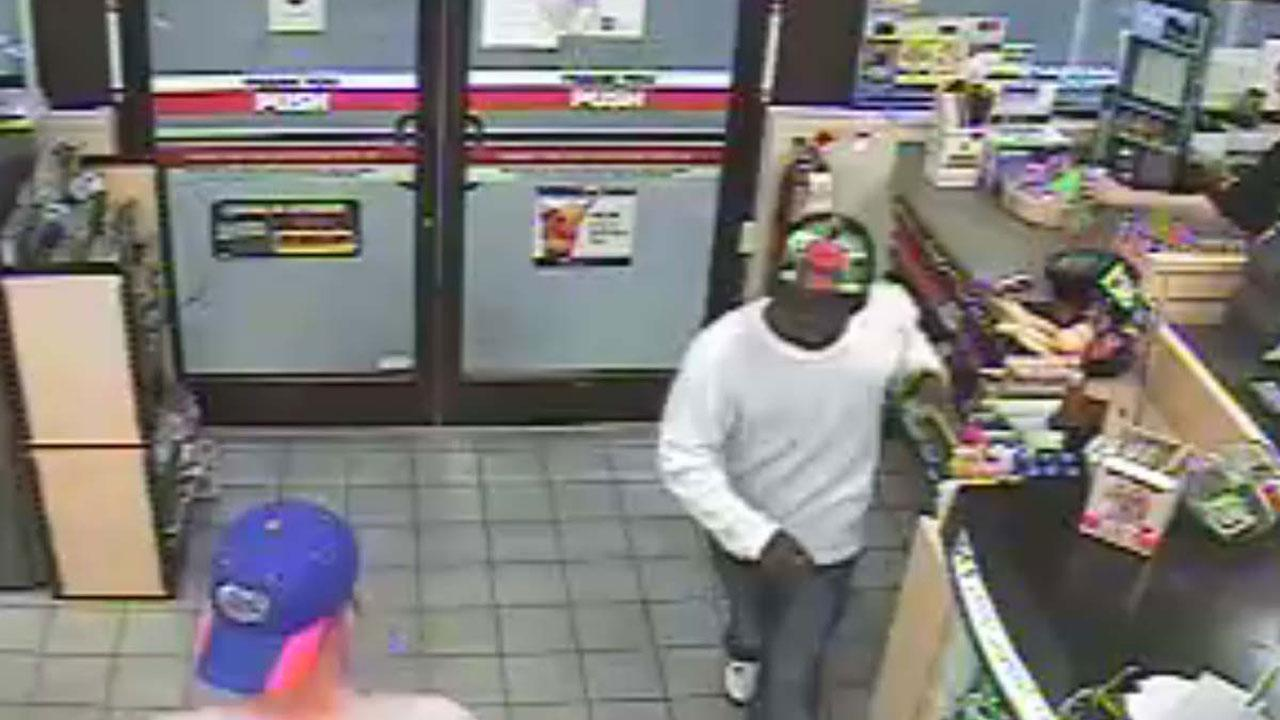 Authorities in Fayetteville are searching for a suspect in connection with an armed robbery at a Kangaroo convenience store on Murphy Road early Tuesday. <span class=meta>(Cumberland County Sheriff&#39;s Office)</span>