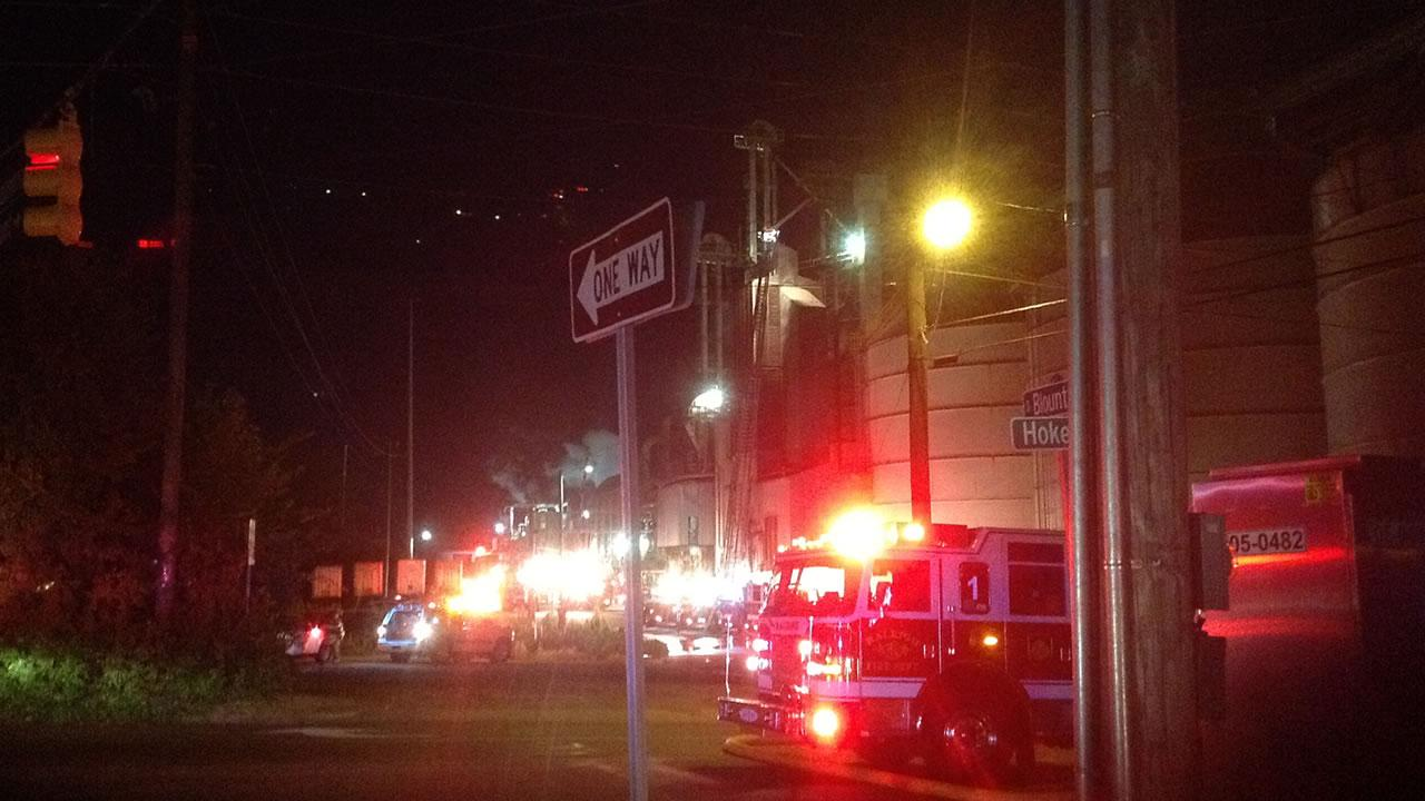 There was a fire at a soybean processing plant on Blount Street in downtown Raleigh Friday night.