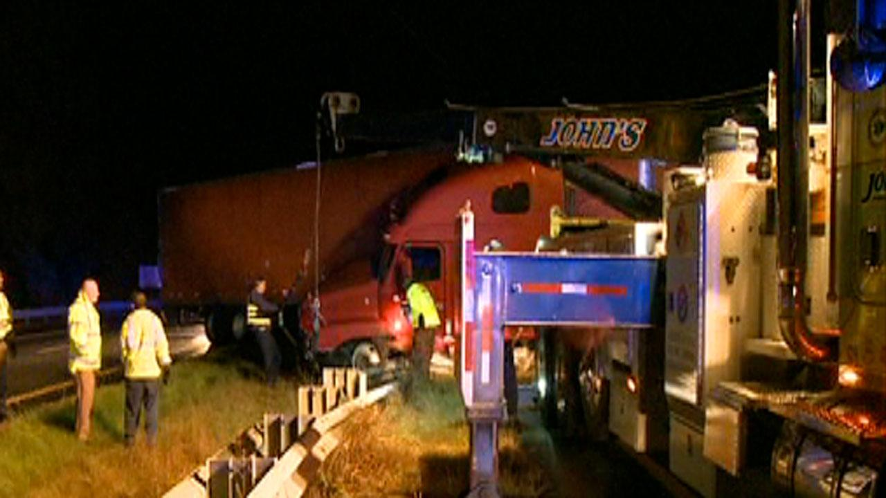 A driver of a tractor-trailer is facing charges after running off the road and hitting a guardrail on Interstate 85 in Durham Thursday morning.