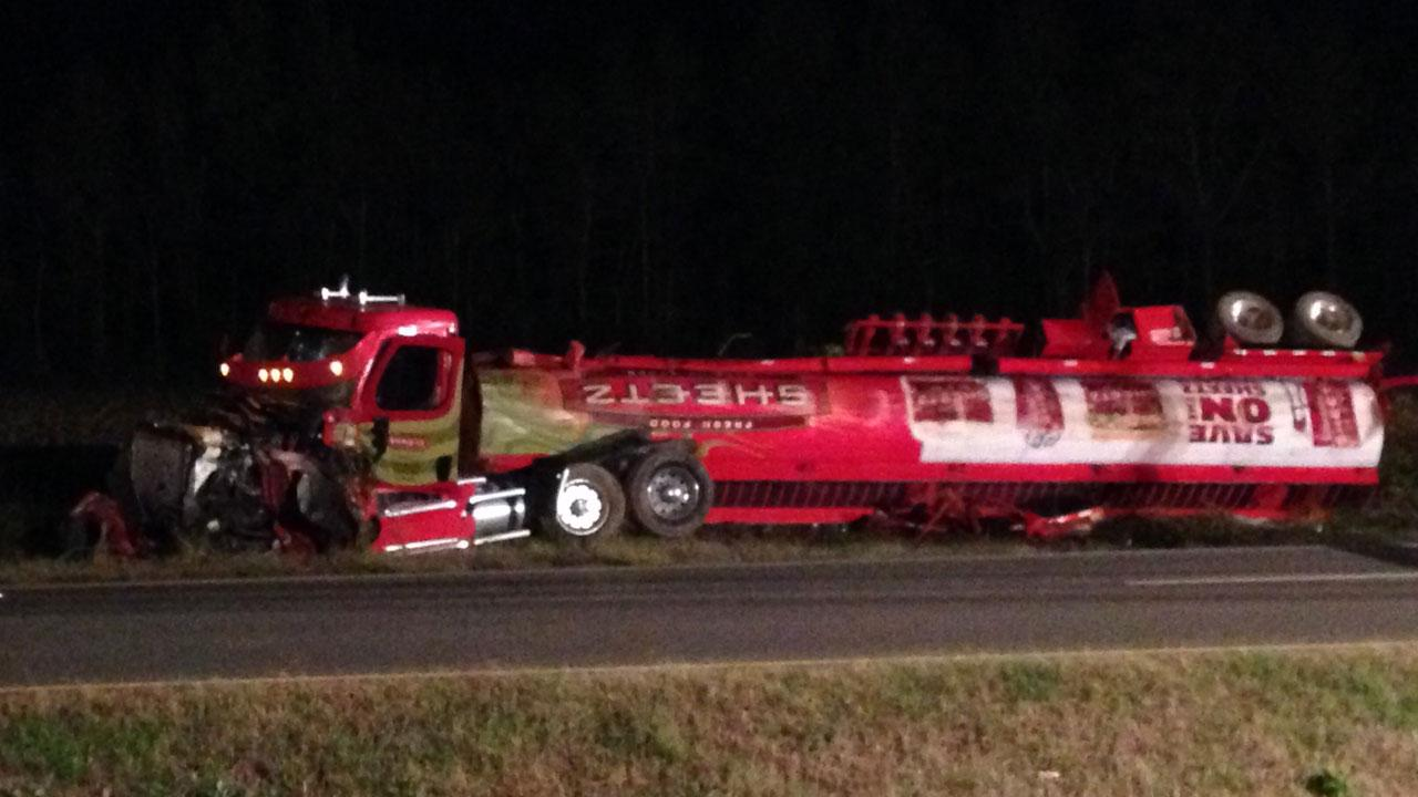 Gas tanker overturned in Wilson County