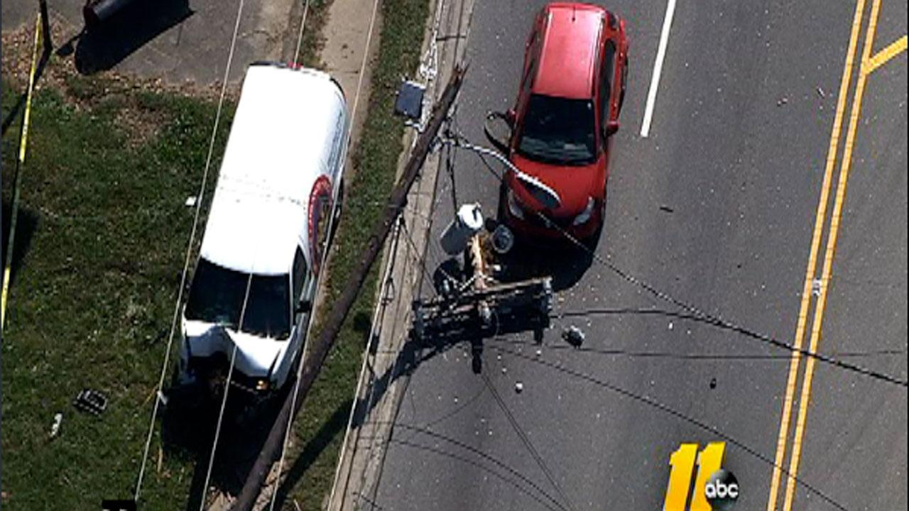 An accident along N. Roxboro Street in Durham early Thursday afternoon blocked traffic and took down a utility pole.