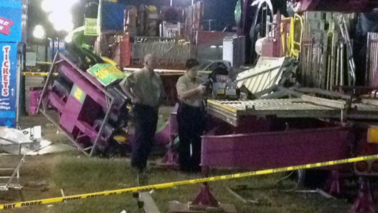 A person helping take down rides at the North Carolina State Fair was injured early Monday morning. <span class=meta>(ABC11 Photojournalist Jeff Hinkle)</span>