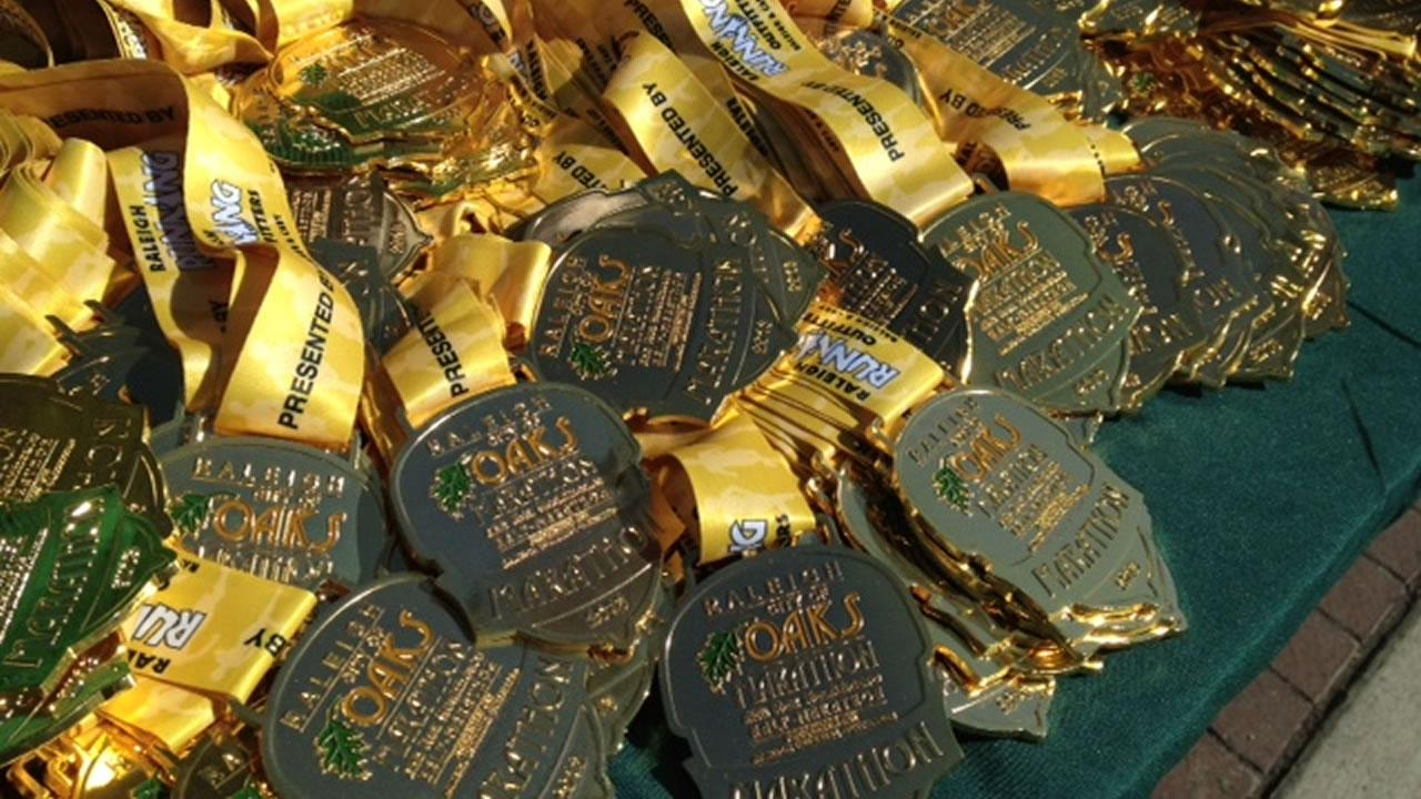 Medals for the runners of the Raleigh City of Oaks Marathon