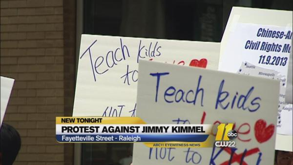 Kimmel protest held outside Raleigh Eyewitness News Center