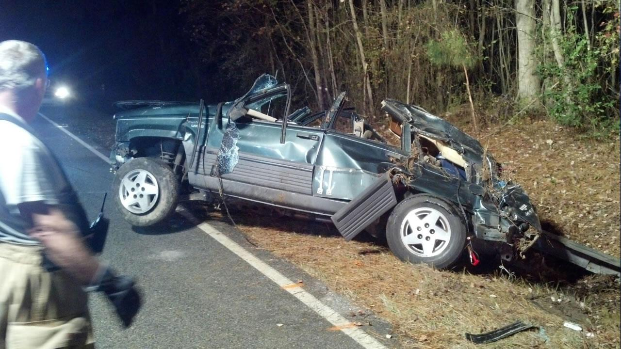 The driver of this Jeep was killed in the single car accident late Friday night, according to the Johnston County Fire Department.