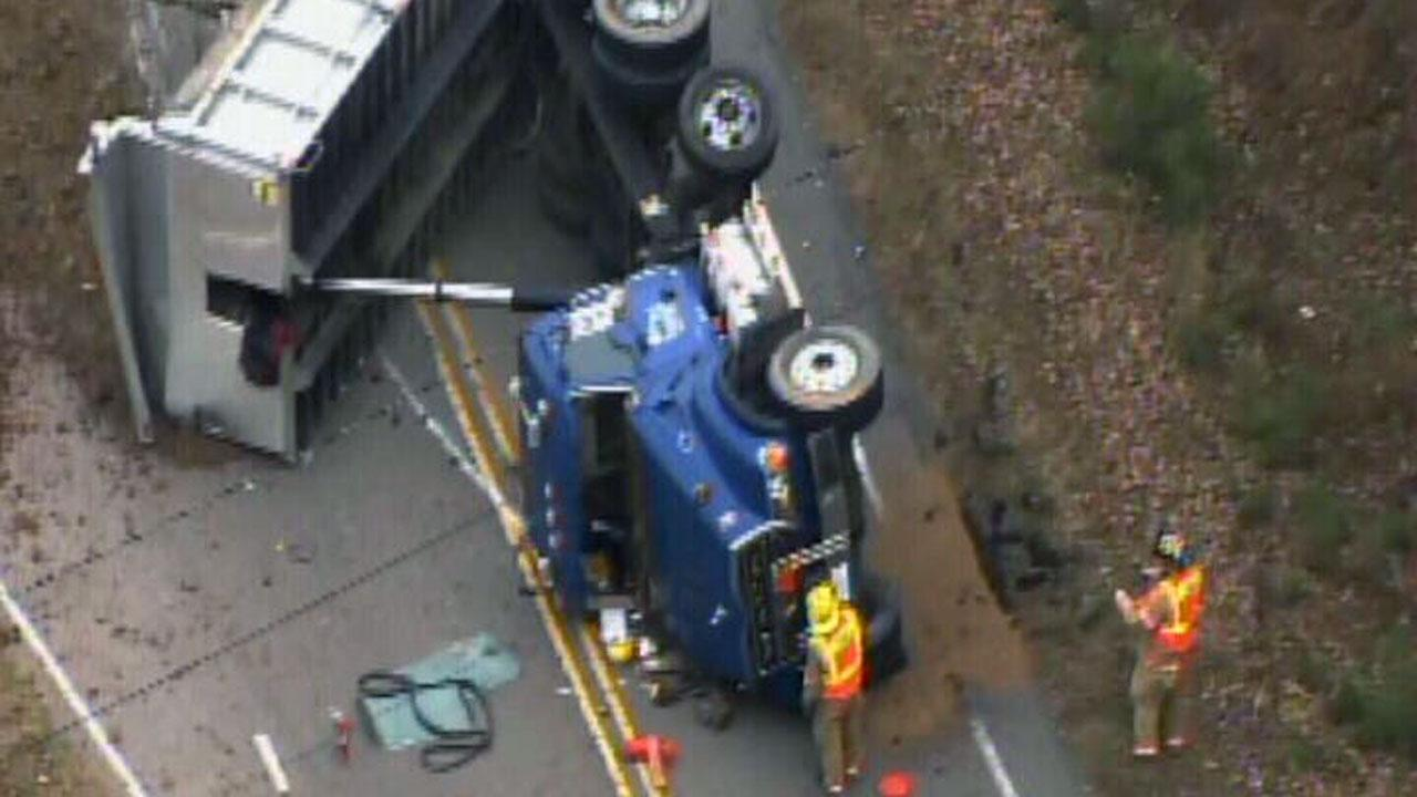 An overturned dump truck caused quite a mess in Raleigh Tuesday.