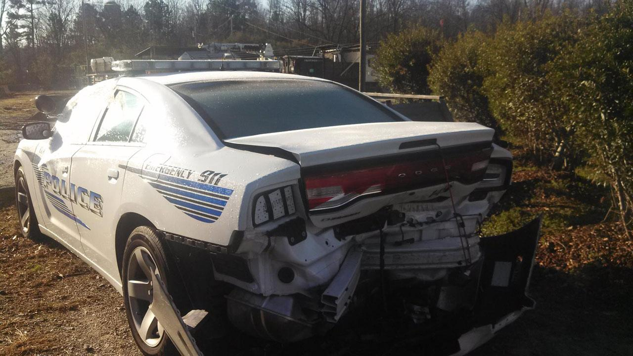 Woman facing several charges after she hit a Clayton Police officers cruiser over the weekend