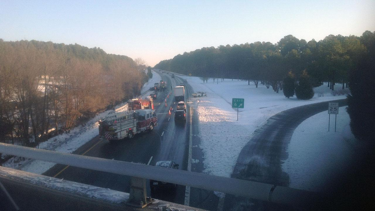 Accident on Durham Freeway at Cornwallis Road Friday morning. <span class=meta>(ABC11 Reporter Caitlin Knute)</span>