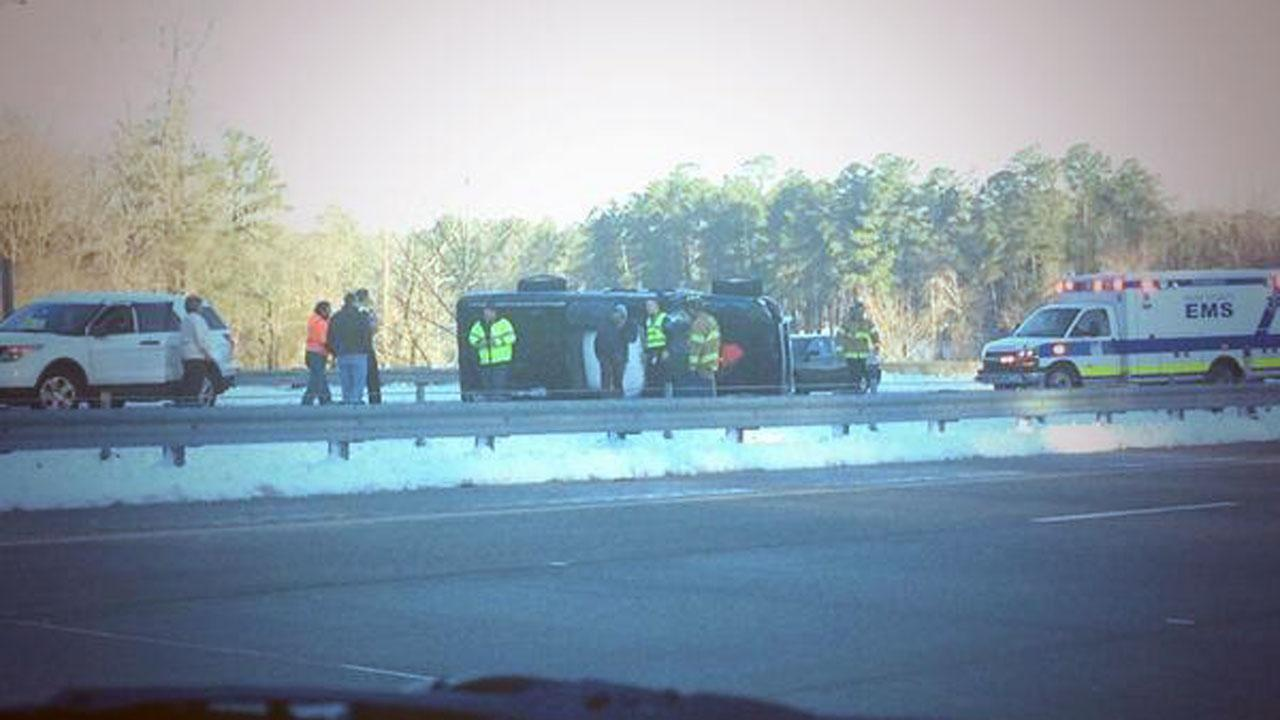 Accident on I-540 at mile marker 22 Friday morning. <span class=meta>(ABC11 Reporter Angelica Alvarez)</span>