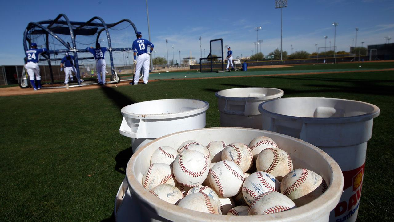 Baseball spring training! Kansas City Royals catchers take batting practice during spring training baseball practice on Feb. 15, 2014.AP Photo/Tony Gutierrez