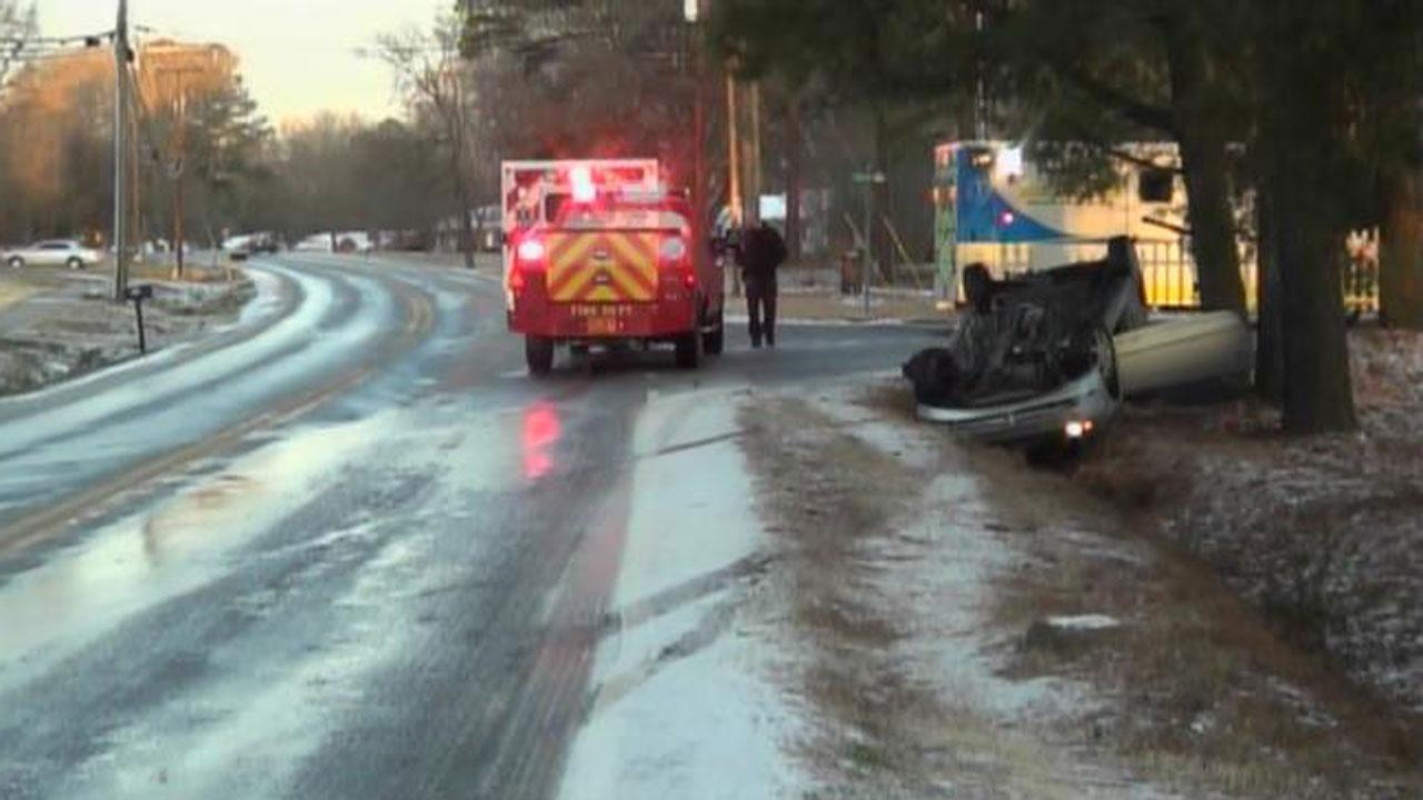 Overturned vehicle on Horton Road at Casa Street in northern Durham.