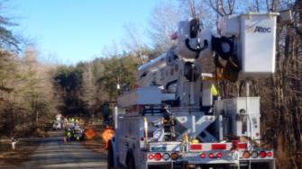 Duke Energy Progress crews working to restore power on Green Pine Road off Saw mill rd and Hwy 86 in northern Orange County.