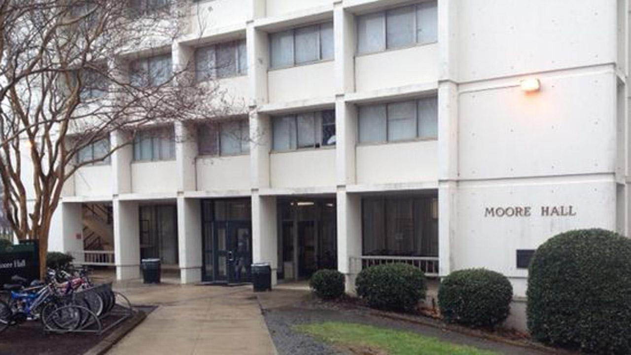 Police said Joshua Helm fell from the seventh floor of Moore Hall Sunday morning