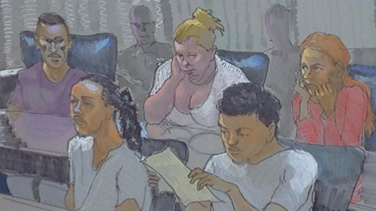 Jenna Paulin Martin (female in white), Tiana Maynard (female in orange), Michael Gooden (male in purple/garnet), Jovante Price (male with short hair in white shirt), and Clifton Robert (male with dreads white shirt) <span class=meta>(Sketch by Richard Miller)</span>