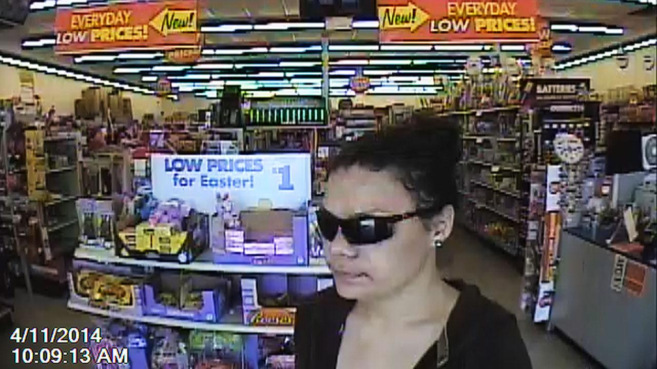 Surveillance video shows suspect entering a Family Dollar Store and using a stolen credit card to make purchases.