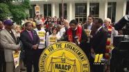 Reverend William Barber announces the return of Moral Monday demonstrations for the legislative short session.