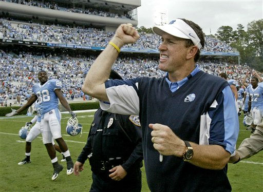 In this Oct. 6, 2007 file photo, North Carolina coach Butch Davis pumps his fist as he celebrates his team&#39;s 33-27 win over Miami in a football game in Chapel Hill, N.C.  <span class=meta>(AP Photo&#47; Gerry Broome)</span>