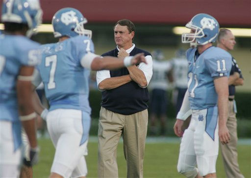 North Carolina&#39;s head coach Butch Davis during a NCAA college football football game in Chapel Hill, N.C., Saturday, Oct. 4, 2008.  <span class=meta>(AP Photo&#47; Jim Bounds)</span>