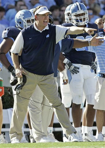 North Carolina coach Butch Davis yells from the sidelines during the first half of an NCAA college football game against Georgia Tech in Chapel Hill, N.C., Saturday, Nov. 8, 2008. North Carolina won 28-7.  <span class=meta>(AP Photo&#47; Gerry Broome)</span>