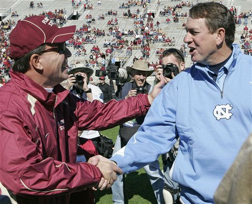 Florida State&#39;s head coach Jimbo Fisher, left and North Carolina&#39;s head coach Butch Davis wish each other good luck before the start of an NCAA college football game on Saturday, Nov. 6, 2010 in Tallahassee, Fla. <span class=meta>(AP Photo&#47; Steve Cannon)</span>