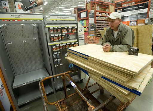 Tony McHugh waits on line at Home Depot to purchase plywood to cover the windows on his house on Long Beach Island in preparation for Hurricane Irene, Thursday Aug. 25, 2011, in Manahawkin, N.J.  Tens of thousands of visitors to the New Jersey shore and many residents have begun an orderly exodus after a series of requests to evacuate due to Hurricane Irene. <span class=meta>(AP Photo&#47; Joe Epstein)</span>