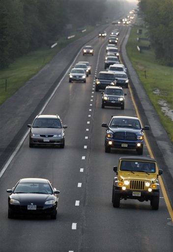 Lines of traffic head west on the Atlantic City Expressway, Friday, Aug. 26, 2011, near Winslow, N.J., as much of the Jersey shore evacuates inland ahead of Hurricane Irene.   <span class=meta>(AP Photo&#47; Mel Evans)</span>