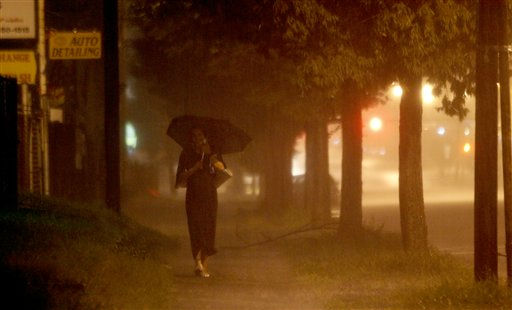 "<div class=""meta ""><span class=""caption-text "">Gigi Lugo, who described herself as a prostitute soliciting customers, walks along Broadway during a heavy downpour caused by Hurricane Irene, Saturday, Aug. 27, 2011, in Newark, N.J.  Irene has the potential to cause billions of dollars in damage all along a densely populated arc that includes Washington, Baltimore, Philadelphia, New York, Boston and beyond. At least 65 million people could be affected.  (AP Photo/ Julio Cortez)</span></div>"