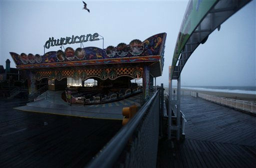 An amusement park ride sits closed on a boardwalk in Ocean City, Md., Saturday, Aug. 27, 2011, as Hurricane Irene heads toward the Maryland coast.  <span class=meta>(AP Photo&#47; Patrick Semansky)</span>