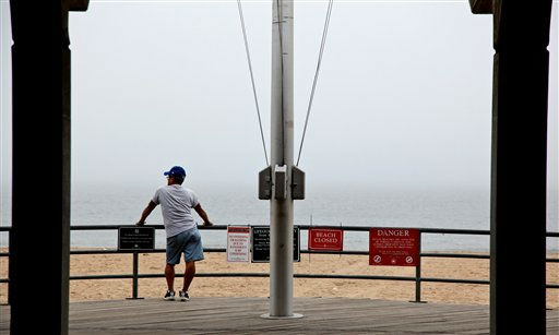 "<div class=""meta ""><span class=""caption-text "">Milton Varges of Brooklyn looks out over a closed Coney Island beach as he and others await the arrival of Hurricane Irene at the Coney Island section of New York Saturday (AP Photo/Craig Ruttle)</span></div>"