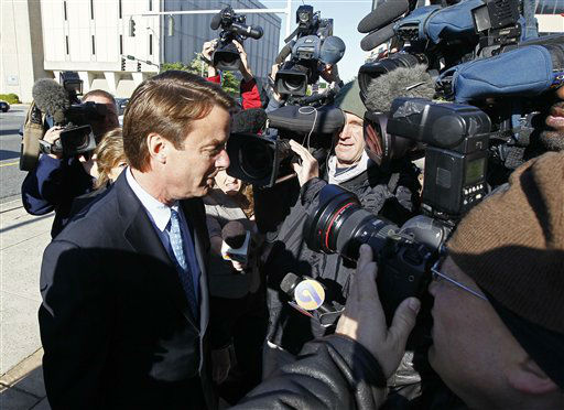 Former presidential candidate and U.S. Sen. John Edwards arrives outside federal court in Greensboro, N.C., Thursday, April 12, 2012. <span class=meta>(AP Photo&#47; Gerry Broome)</span>