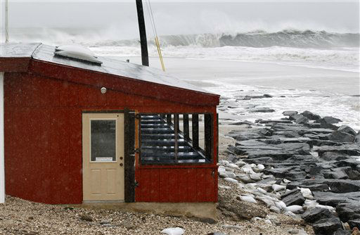 "<div class=""meta ""><span class=""caption-text "">The dinning area of the small restaurant, The Cove is threatened by the rough Atlantic Ocean Monday Oct. 29, 2012, in Cape May, N.J., as Hurricane Sandy continues toward landfall. The fast-strengthening Hurricane Sandy churned north Monday, raking ghost-town cities along the Northeast corridor with rain and wind gusts. The monster hurricane was expected to make a westward lurch and aim for New Jersey, blowing ashore Monday night and combining with two other weather systems - a wintry storm from the west and cold air rushing in from the Arctic - to create an epic superstorm.  (AP Photo/ Mel Evans)</span></div>"