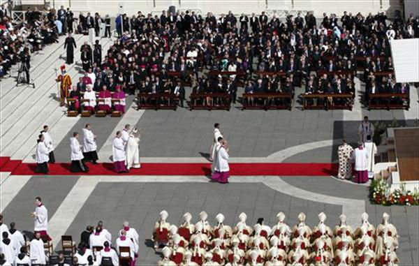 Pope Francis celebrates his inaugural Mass in St. Peter's Square at the Vatican Tuesday.