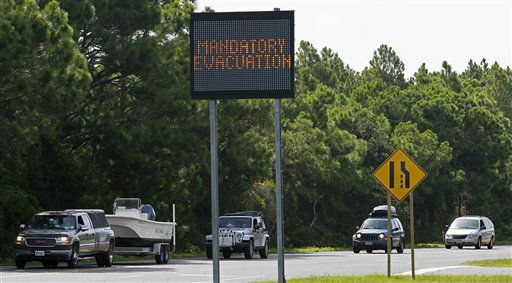 Vehicles drive north on Highway 12 near Nags Head, N.C., Thursday, Aug. 25, 2011. A mandatory evacuation is underway as hurricane Irene approaches the Outer Banks of North Carolina. <span class=meta>(AP Photo&#47; Gerry Broome)</span>