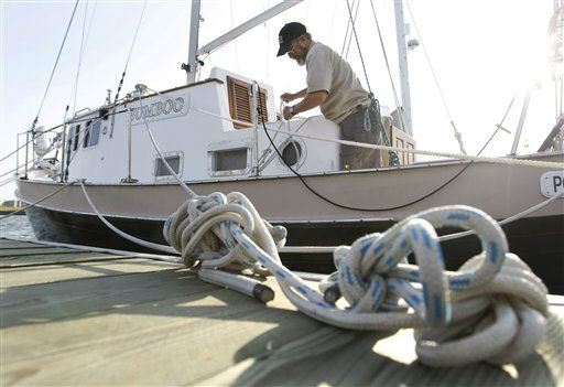 Mike Montith, of Portsmouth, Va. secures boat in preparation for the arrival of Hurricane Irene in the Willoughby Spit area of  Norfolk, Va., Thursday, Aug. 25, 2011.  <span class=meta>(AP Photo&#47; Steve Helber)</span>