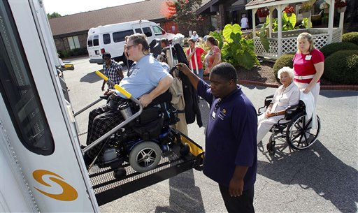 "<div class=""meta image-caption""><div class=""origin-logo origin-image ""><span></span></div><span class=""caption-text"">Sentara Nursing Center Currituck resident J.T Campbell, left, is evacuated in response to a mandatory evacuation order in Barco, N.C., Friday, Aug. 26, 2011, as Hurricane Irene heads toward the North Carolina coast. Most of the residents will be moved to other Sentara Life Care facilities in Hampton Roads, Va.  (AP Photo/ Jim R. Bounds)</span></div>"
