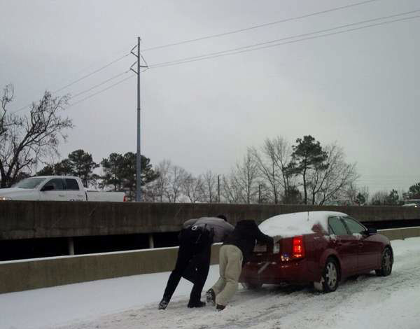 A winter storm snarled traffic and spawned dramatic scenes on roads around central North Carolina Wednesday. Many Good Samaritans and emergency workers came to the rescue of stranded drivers. <span class=meta>(WTVD iWitness Photo)</span>