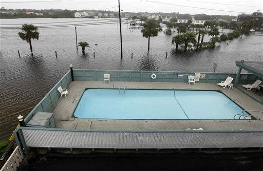 "<div class=""meta ""><span class=""caption-text "">Flood waters surround a condominium's pool in Carolina Beach, N.C., Thursday, Sept. 30, 2010.  (AP Photo/ Chuck Burton)</span></div>"