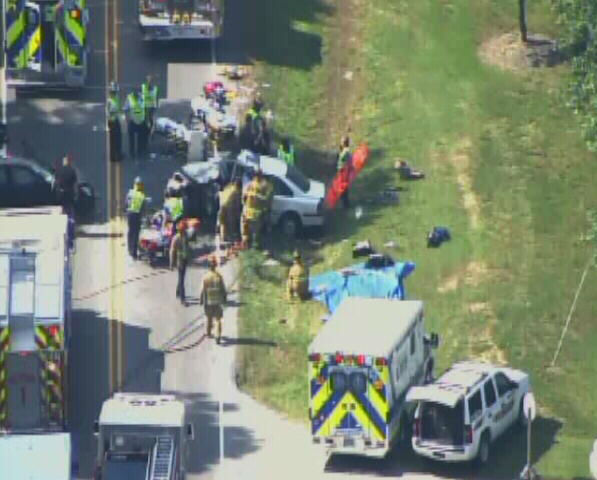 Six people were injured in a crash on Jones Sausage Road in Garner Friday afternoon. <span class=meta>(Photo&#47;WTVD Photo)</span>