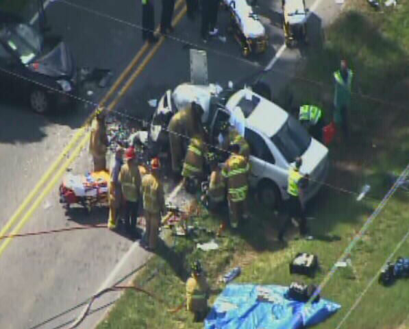 "<div class=""meta image-caption""><div class=""origin-logo origin-image ""><span></span></div><span class=""caption-text"">Six people were injured in a crash on Jones Sausage Road in Garner Friday afternoon. (Photo/WTVD Photo)</span></div>"