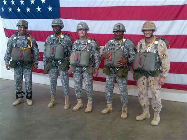 "<div class=""meta ""><span class=""caption-text "">XVIII Airborne Corps senior leaders jump with new T-11 parachutes Thursday (WTVD Photo/ Gilbert Baez)</span></div>"