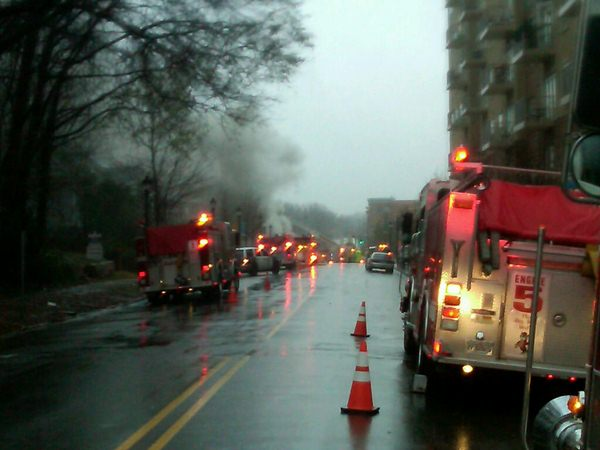 Firefighters battle a blaze on Glenwood Avenue. <span class=meta>(WTVD Photo)</span>