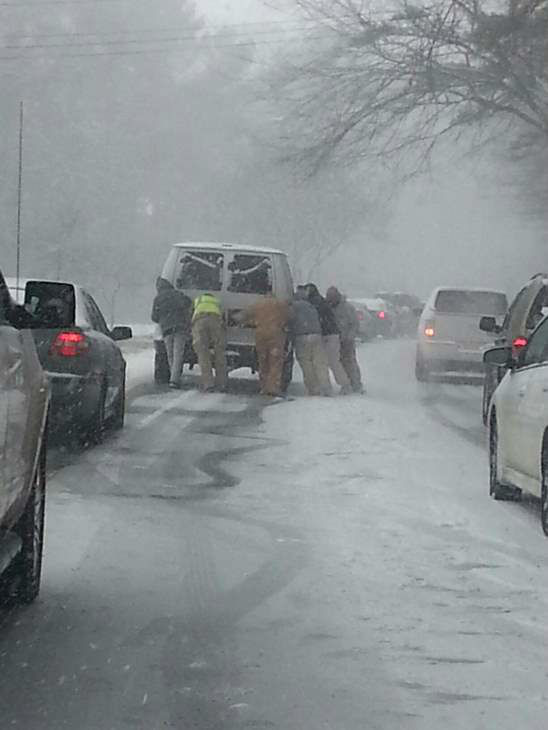 A winter storm snarled traffic and created dramatic scenes on highways around central North Carolina Wednesday.  <span class=meta>(WTVD iWitness Photo)</span>