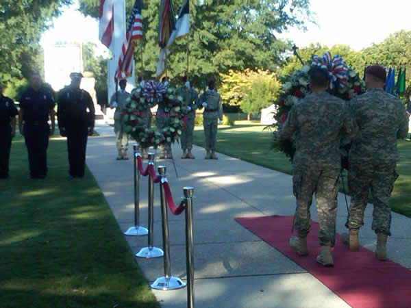 "<div class=""meta ""><span class=""caption-text "">The XVIII Airborne Corps hold a September 11 ceremony at Fort Bragg to remember those who were injured or died during the terrorist attacks in the United States.   (WTVD Photo/ Gilbert Baez)</span></div>"