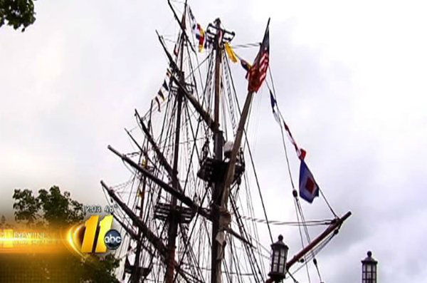 A replica of the HMS Bounty sank in Hurricane Sandy off the coast of North Carolina Monday. <span class=meta>(WTVD Photo)</span>