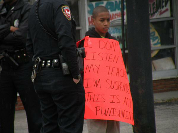 Twelve-year-old Parrish Pierce was forced to wear a sign by his mother after he was suspended from school. <span class=meta>(WTVD Photo&#47; Lisa Tyndall)</span>
