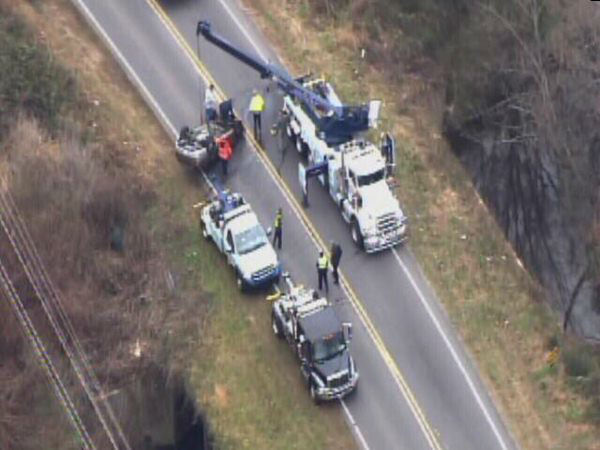 Emergency workers pulled an upside down car out of a creek in Durham Wednesday morning. They said it appeared the vehicle located near Camden Road and Midland Terrace had been there for some time. No one was found inside. <span class=meta>(WTVD Photo)</span>