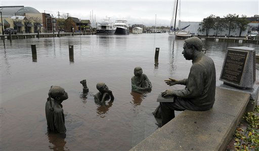 The Kunta Kinte-Alex Haley Memorial sits in flood waters in downtown Annapolis, Md., Tuesday, Oct. 30, 2012, after the superstorm and the remnants of Hurricane Sandy passed through Annapolis.  <span class=meta>(AP Photo&#47; Susan Walsh)</span>